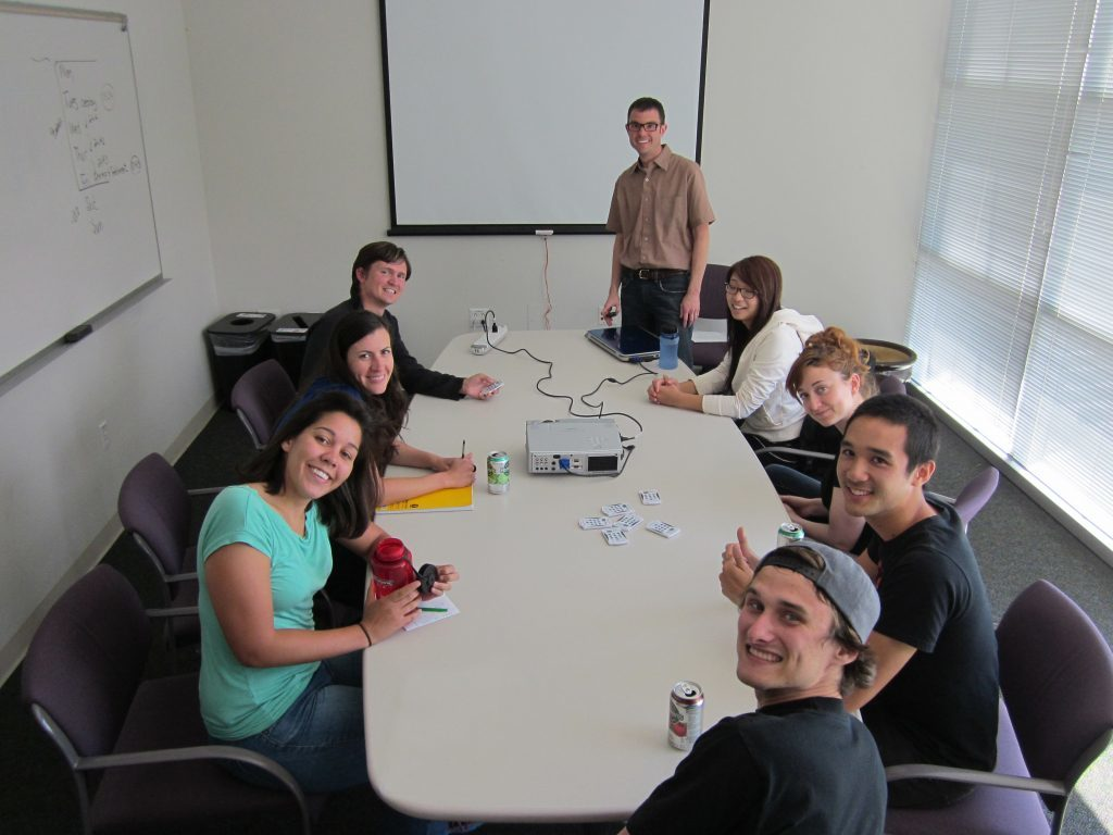 Trial focus group with Ben, Charlie, Liz and students.